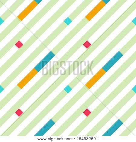 Seamless geometric stripy pattern. Texture of diagonal strips. Bright red, blue, yellow rectangles and green lines on white background. Baby, children colored. Vector
