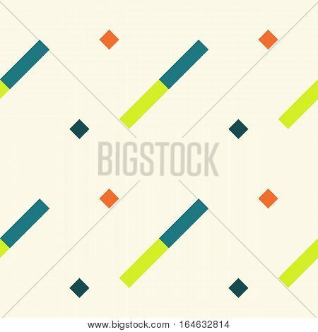 Seamless geometric stripy pattern. Texture of diagonal strips. Blue, green, orange rectangles and squares on white soft background. Baby, children colored. Vector