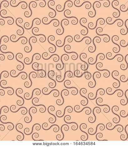 Spiral seamless lace pattern. Vintage abstract texture. Twirl figures of laurel leaves. Vinous, beige contrast colored background. Vector