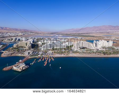 Eilat, Israel - Aerial image, revealing Eilat's skyline and the red sea