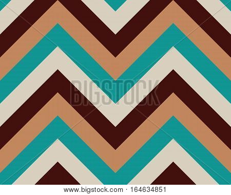 Striped, zigzagging seamless pattern. Zig-zag line texture. Stripy geometric background. Brown, turquoise, orange, gray contrast colored. Winter theme. Vector