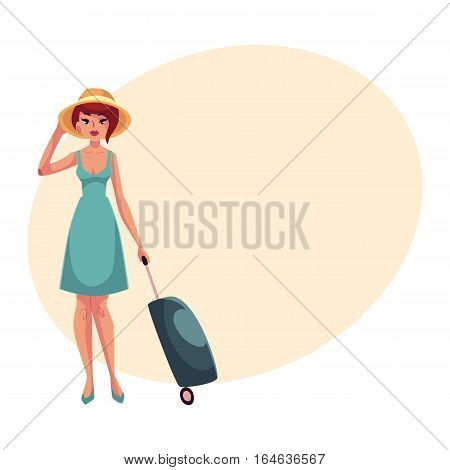 Young pretty woman in blue dress with suitcase, cartoon illustration on background with place for text. Full length portrait of beautiful girl, woman traveler with luggage, suitcase