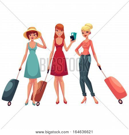 hree girls, dress and jeans, travelling together with suitcases, one holding tickets, another wearing backpack, cartoon illustration isolated on white background. Young women with luggage, suitcases