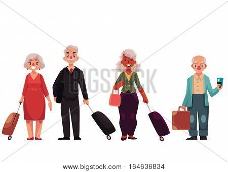 Set of old male and female travelers with luggage, suitcases, cartoon illustration isolated on white background. Senior, elder, pensioner tourists with luggage, bags, suitcases arriving or departing