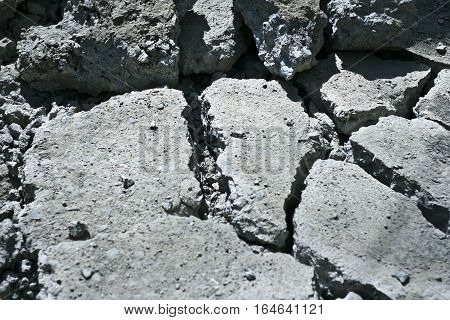 Broken Cement/Asphalt road. The concept of earthquake.