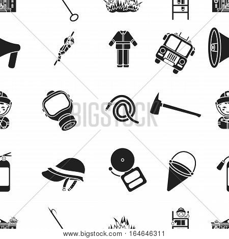 Fire department pattern icons in black style. Big collection of fire department vector symbol stock