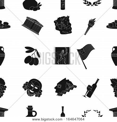 Greece pattern icons in black design. Big collection of Greece vector symbol stock illustration