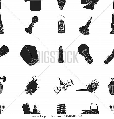 Light source pattern icons in black style. Big collection of light source vector symbol stock