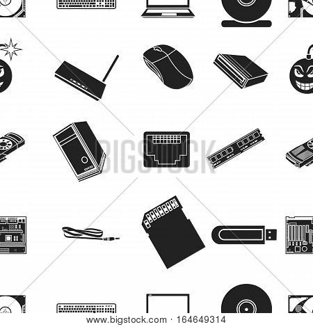 Personal computer pattern icons in black style. Big collection of personal computer vector symbol stock