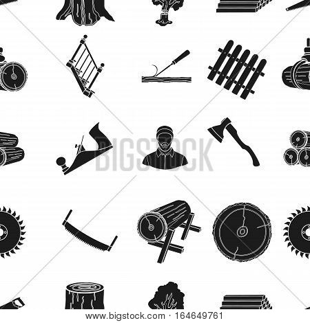 Sawmil and timber pattern icons in black style. Big collection of sawmill and timber vector symbol stock