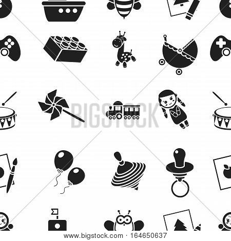 Toys pattern icons in black style. Big collection of toys vector symbol stock