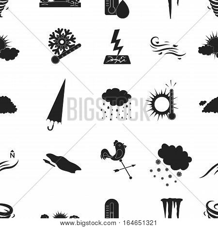 Weather pattern icons in black style. Big collection of weather vector symbol stock