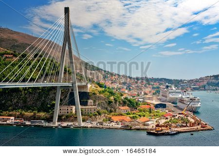 Suspension bridge in the coastal town of Dubrovnik in Croatia