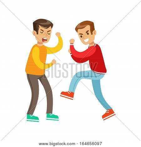 Two Screaming Boys Fist Fight Positions, Aggressive Bully In Long Sleeve Red Top Fighting Another Kid Who Is Weaker But Is Fighting Back. Flat Vector Teenage Aggression And Conflict Resulting In Street Fight Illustration.