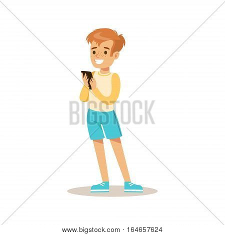 Boy With Smartphone, Child And Gadget Illustration With Kid Watching And Playing Using Electronic Device. Teenager Technology Addict Cartoon Vector Character Smiling And Enjoying His Pastime.