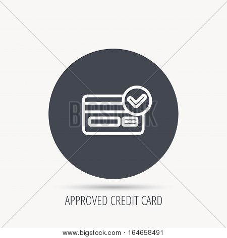 Approved credit card icon. Shopping sign. Round web button with flat icon. Vector