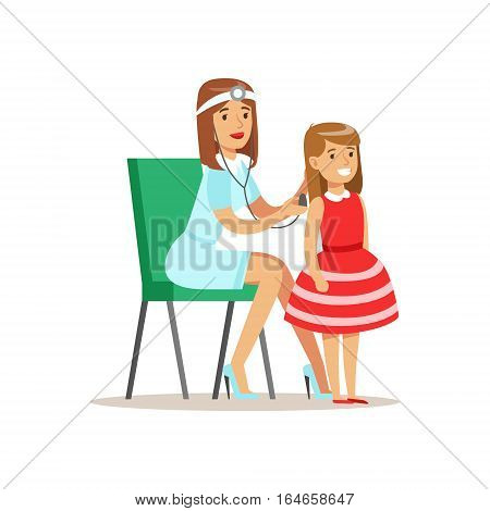 Girl Checked With Sthetoscope On Medical Check-Up With Female Pediatrician Doctor Doing Physical Examination For The Pre-School Health Inspection. Young Child On Medical Appointment Checking General Physical Condition Illustration.