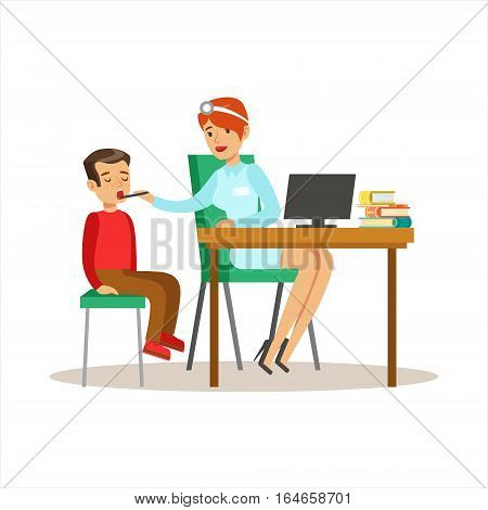 Boy On Medical Check-Up With Female Pediatrician Doctor Doing Physical Examination With Computer For The Pre-School Health Inspection. Young Child On Medical Appointment Checking General Physical Condition Illustration.