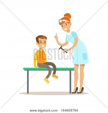 Boy On Medical Check-Up With Female Pediatrician Doctor Doing Physical Examination Checking Reflexes For The Pre-School Health Inspection. Young Child On Medical Appointment Checking General Physical Condition Illustration.