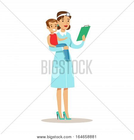 Kid On Medical Check-Up With Female Pediatrician Doctor Doing Physical Examination Holding Boy In Hands For The Pre-School Health Inspection. Young Child On Medical Appointment Checking General Physical Condition Illustration.