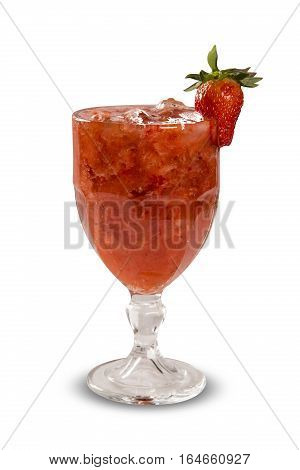 Fresh Made Strawberry Caipirinha In White Background
