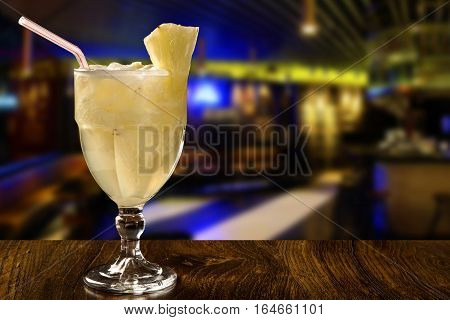 Pineapple Fruit Caipirinha Of Brazil On Wooden Background
