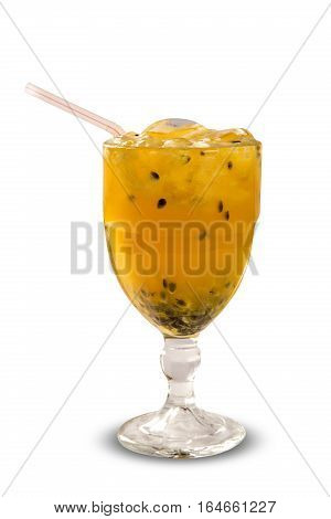 Passion Fruit Caipirinha Of Brazil In White Background