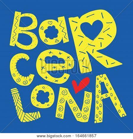 Barcelona / FC Barcelona football team colors / Barcelona Spain greeting card poster postcard badge sticker tee shirt illustration design