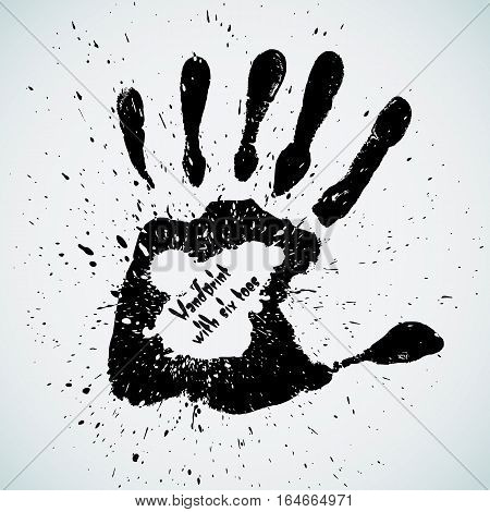 Handprint with six toes, vector illustration. Isolated on white background