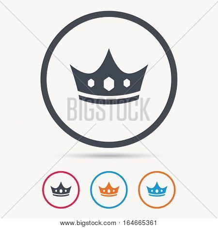 Crown icon. Royal throne leader symbol. Colored circle buttons with flat web icon. Vector