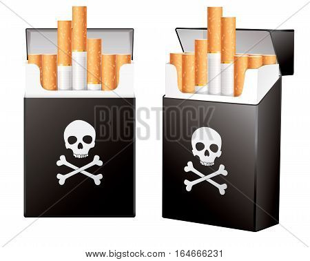 Black pack of cigarettes with the image of the Jolly Roger. On the dangers of smoking. Isolated on white background. Vector illustration eps 10