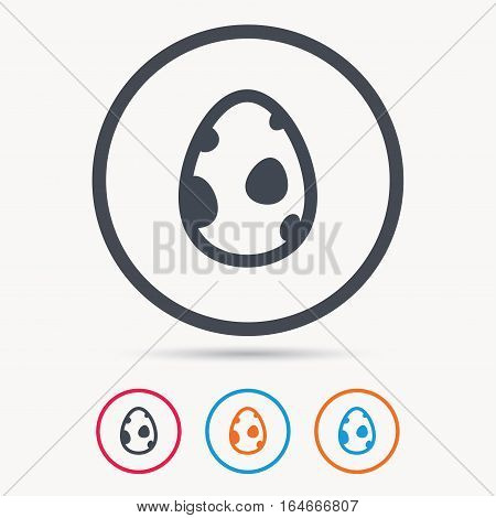 Dinosaur egg icon. Birth symbol. Pokemon egg concept. Colored circle buttons with flat web icon. Vector