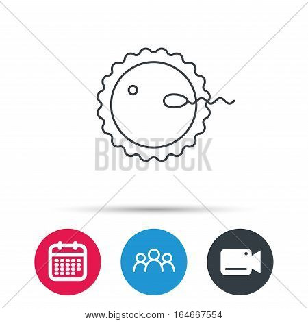 Fertilization icon. Pregnancy sign. Spermatozoid and egg symbol. Group of people, video cam and calendar icons. Vector