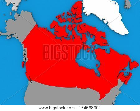 Canada In Red On Globe