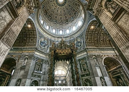 Saint Peter's basilica interior in Vatican