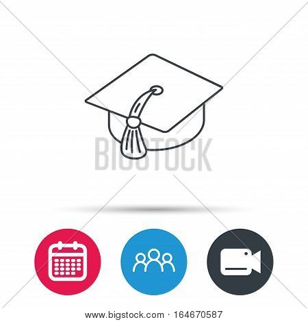 Graduation cap icon. Diploma ceremony sign. Group of people, video cam and calendar icons. Vector