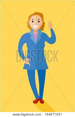 Politician women character illustration. Vector in flat style design. In the business pantsuit