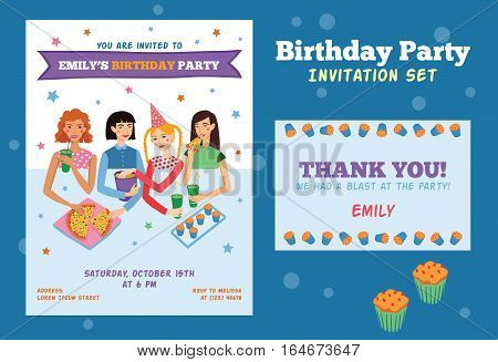 Set of Vector Invitation Flyer and Thank You Card For Teenage Girls Birthday Party With Four Pretty Friends Celebrating. Perfect for a sleepover or pajama party event.Featuring young women, pizza, popcorn, cupcakes, drinks with fun text.