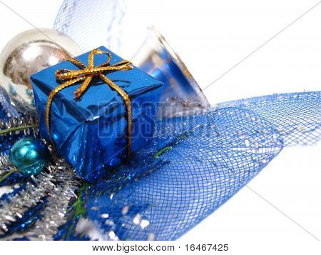 blue Christmas decoration, box with handbell and balls