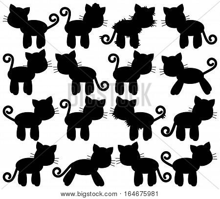 Vector Collection of Cute Cat or Kitten Silhouettes
