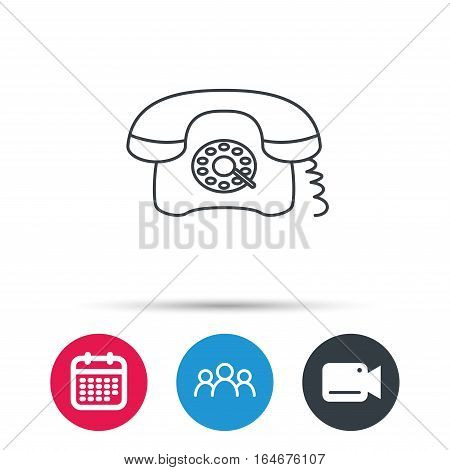 Retro phone icon. Old telephone sign. Group of people, video cam and calendar icons. Vector