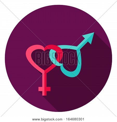 Gender Circle Icon. Flat Design Vector Illustration with Long Shadow. Happy Valentine Day Symbol.
