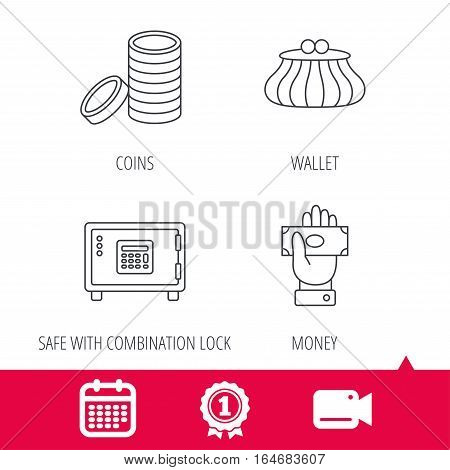 Achievement and video cam signs. Give money, cash money and wallet icons. Safe box, coins linear signs. Calendar icon. Vector