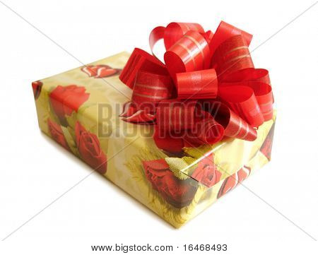 red ribbon tied yellow box over white background