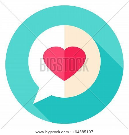 Love Message Circle Icon. Flat Design Vector Illustration with Long Shadow. Happy Valentine Day Symbol.
