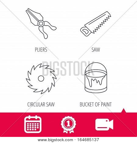Achievement and video cam signs. Pliers, circular saw and bucket of paint icons. Saw linear signs. Calendar icon. Vector