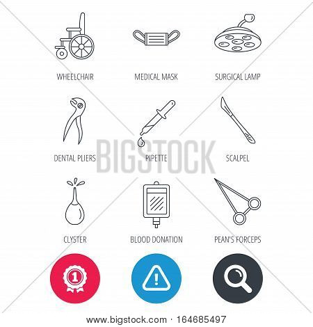 Achievement and search magnifier signs. Medical mask, scalpel and dental pliers icons. Pipette, surgical lamp and wheelchair linear signs. Blood donation, clyster and drop flat line icons. Vector