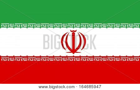 flat iranian flag in the colors green, red and white