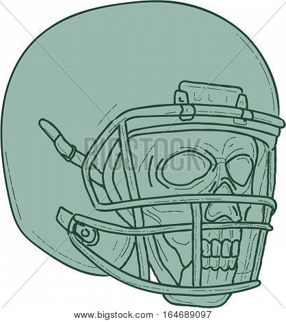 Drawing sketch style illustration of a skull of a football quarterback QB player wearing helmet looking to the side set on isolated white background.