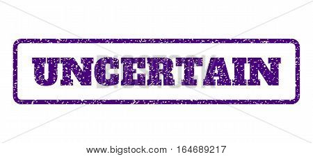 Indigo Blue rubber seal stamp with Uncertain text. Vector caption inside rounded rectangular banner. Grunge design and dirty texture for watermark labels. Horisontal sticker on a white background.